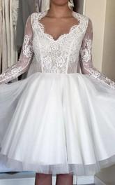 Ball Gown Short Mini Illusion Sleeve Tulle Satin Taffeta Lace Wedding Dress
