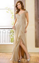 Long Side-Slit Ruffles V-Neckline Cap-Sleeved Gown