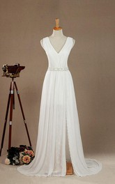 Chiffon Low-V Back Satin V-Neckline Floor-Length Wedding Lace Gown