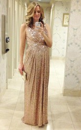 Pregnant Strapped Sleeveless Sequined Glamorous Gown