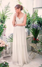 Sleeveless Chiffon Pleated Lace Floor-Length Wedding Dress With Keyhole