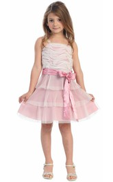 Layered Embroidery Floral Midi-Length Flower Girl Dress