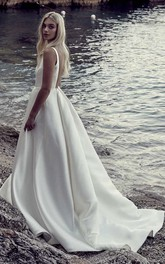 A-line Ballgown Satin Wedding Dress With Plunging V-neck And Open Back