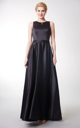 Pleated Zipper Back Sleeveless Wonderful Satin Gown