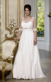 Short-Sleeve Sweep-Train Jewellery Long A-Line Low-V-Back-Waist Chiffon Dress