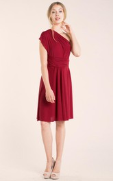 One-shoulder Chiffon Knee-length Dress With Pleat And bow