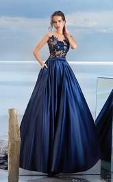 A-line Floor-length Jewel Short Sleeve Chiffon Button Dress