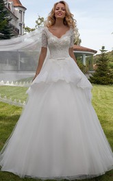 V-neck Short Sleeve A-line Ball Gown Wedding Dress With Peplum And Lace