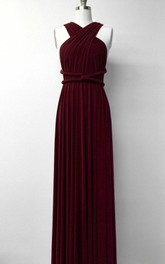 Chiffon Sleeveless Jersey Pleated long Dress
