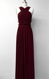 Chiffon Sleeveless Jersey Pleated long Dress