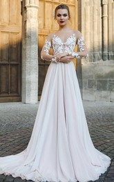 Bateau Illusion Long Sleeve Appliqued A-Line Chiffon Wedding Dress