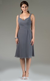 Strapped Sleeveless Chiffon Knee-length Bridesmaid Dress