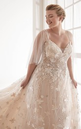 Luxury Plus Size V-neck Lace Wedding Dress With Illusion Tulle Sleeves And Chapel Train