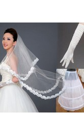 Cheap New Style Wedding Veil Gloves Petticoat Three-Piece Package