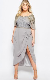 Tea-Length Scoop Neck Sequined Short Sleeve Chiffon Bridesmaid Dress