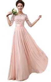 Floor-Length Lace Bodice Belt Long Scoop-Neck Bridesmaid Gown