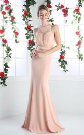 Column Beaded Jewel-Neck Sleeveless Keyhole Jersey Dress