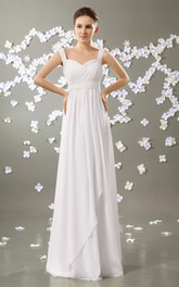 Chiffon Beaded Strapped High-Waist Strapless Pleated Gown