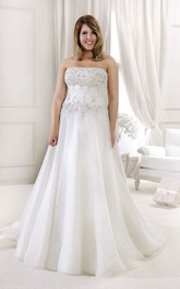 Strapless A-line Wedding Dress With Appliques And Ruched waist