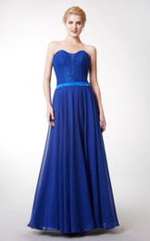 Chiffon Satin Belt Sleeveless Fantastic Gown
