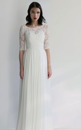 Simple Sheath Chiffon Bateau Half-Sleeve Pleated Wedding Dress