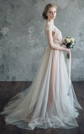 Tulle Cap-sleeve Spaghetti-strap Dress With Appliques And Sweep Train
