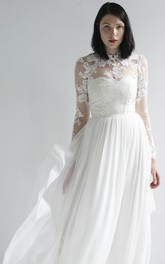 High Neck Illusion Lace And Chiffon Long Sleeve Wedding Gown