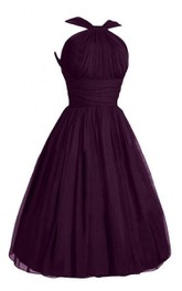 Haltered short Chiffon A-line Dress With Pleats