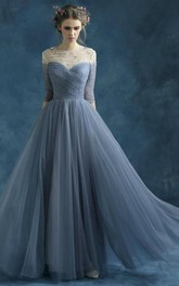 Long Jewel Short-Sleeve A-Line Tulle Draping Dress