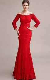 Mermaid Floor-length Off-the-shoulder T-shirt Long Sleeve Lace Dress with Pleats
