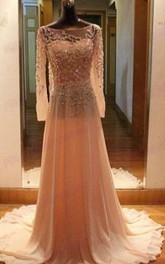 Formal Chiffon Long Party Long-Sleeves Gorgeous Gown