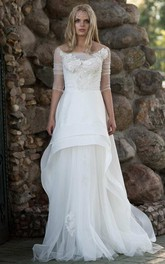 Chiffon Tulle Lace Button Back Wedding Dress
