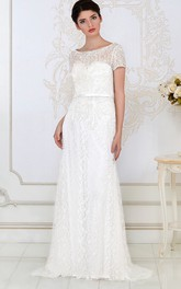 Scoop-neck Short Sleeve long Wedding gown With Beading And Lace