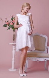 Knee-Length Cap Sleeves Allover Scoop-Neck Gown