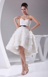 A-Line Layers Appliques High-Low Sweetheart Dress