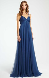 Strapped A-line Empire Tulle Dress With Ruching And Pleats
