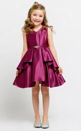 Satin Sash Jeweled Short-Midi-Slit Flower Girl Dress