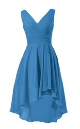 Ruched-Bodice Chiffon V-Neckline Sleeveless High-Low Dress