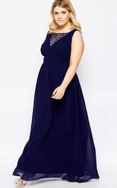 Bateau Sleeveless Chiffon plus size Dress With Beading