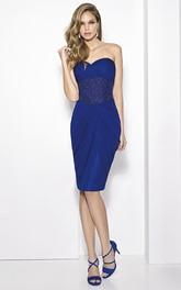 Knee-Length Beaded Sweetheart Sleeveless Jersey Prom Dress With Cape