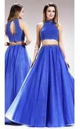 2-Piece Keyhole Jeweled A-Line Floor-Length Sleeveless High-Neck Satin Dress