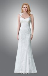 Bridal Queen Anne Neck Column Floor-Length Dress