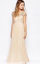 exclusive Tulle Cap-sleeve Lace Dress With Beading And Appliques