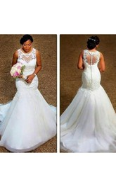 Jewel Organza Lace  Sleeveless Wedding Gown