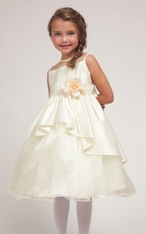 Lace Satin Sash Layered Tea-Length Flower Girl Dress