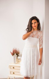 Lace Satin Long-Sleeve Short Bridal Jersey Dress