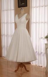 Chiffon Jewel Low-V Back Sleeveless V-Neckline Dress