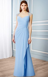 Queen Anne Jersey side-draped Dress With Illusion And Beading