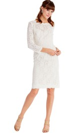 Bateau 3-4-sleeve Lace Pencil Dress With Low-V Back