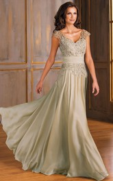 V-neck Cap-sleeve Long Dress With Appliques And Pleats
